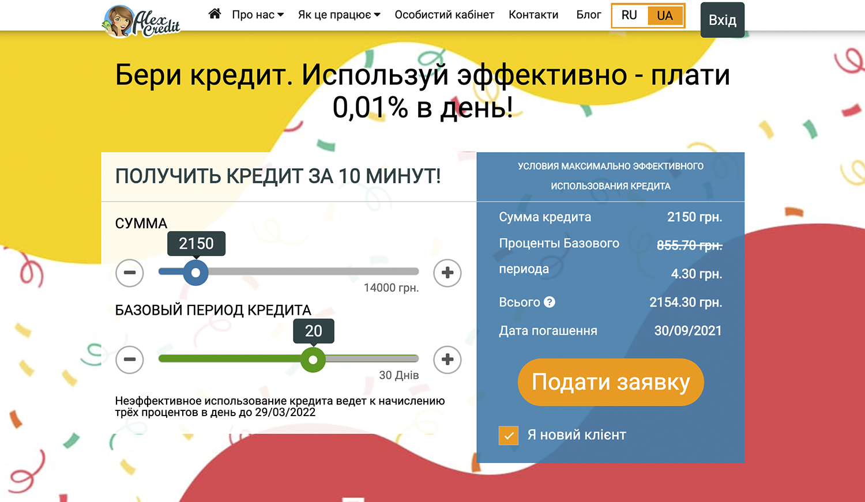Alexcredit алекскредит швидкі кредити