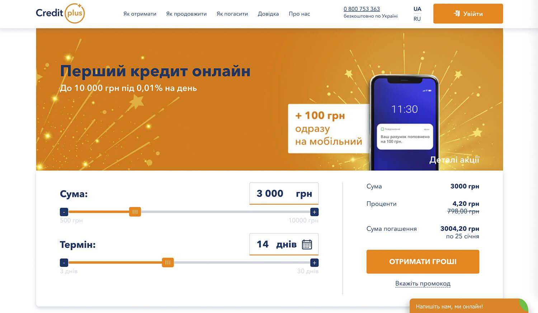 creditplus кредитплюс швидкі кредити